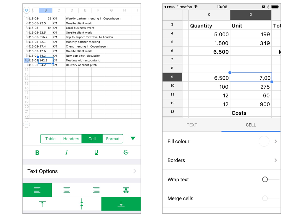 Half Modal presentation to configure spreadsheet cells